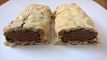 ISS Oh Yeah! Protein Riegel Vanilla Toffee Fudge zerteilt